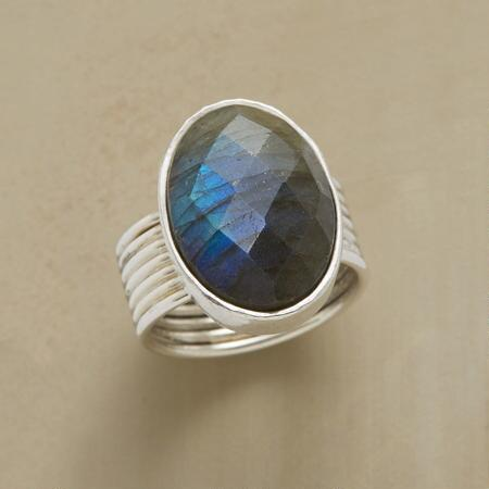 COILED LABRADORITE RING