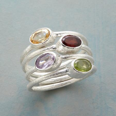 COLOR QUAD RINGS, SET OF 4