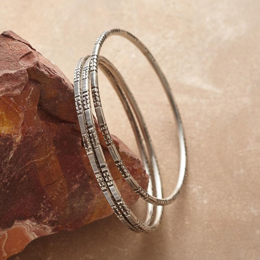 STAMPED STERLING BANGLE TRIO