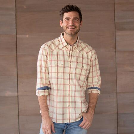 SELKIRK NATURAL PLAID SHIRT