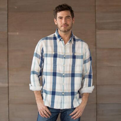 WORDSMITH NATURAL PLAID SHIRT