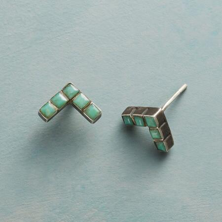 CHEVRON CHRYSOPRASE EARRINGS
