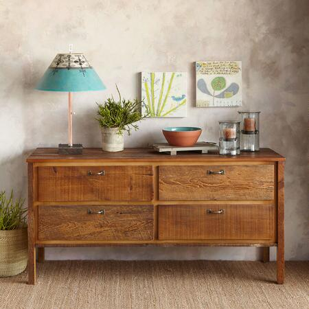 ANTIQUED PINE PROVENCE LOW DRESSER