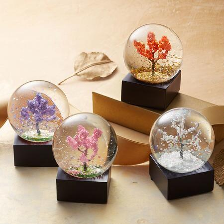 FOUR SEASONS SNOWGLOBES, SET OF 4