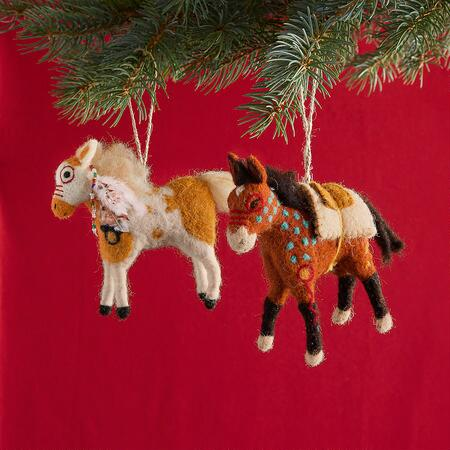 PAINTED PONY ORNAMENTS, SET OF 2