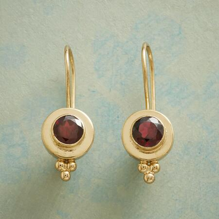 GARNET PORTHOLE EARRINGS