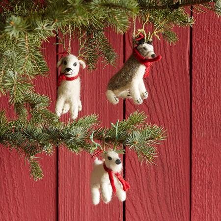REINDOG ORNAMENTS, SET OF 3