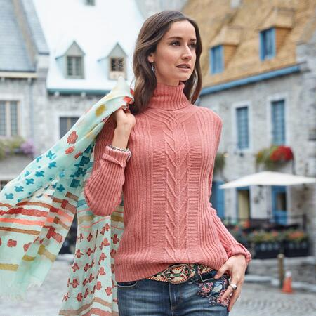 CABLED TOASTY TWEED PULLOVER