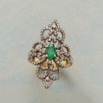 EMERALD AND DIAMOND RENAISSANCE RING