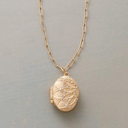 DIAMOND DUSTED LOTUS LOCKET