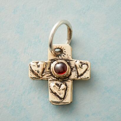 GOLD GARNET FAITH CHARM
