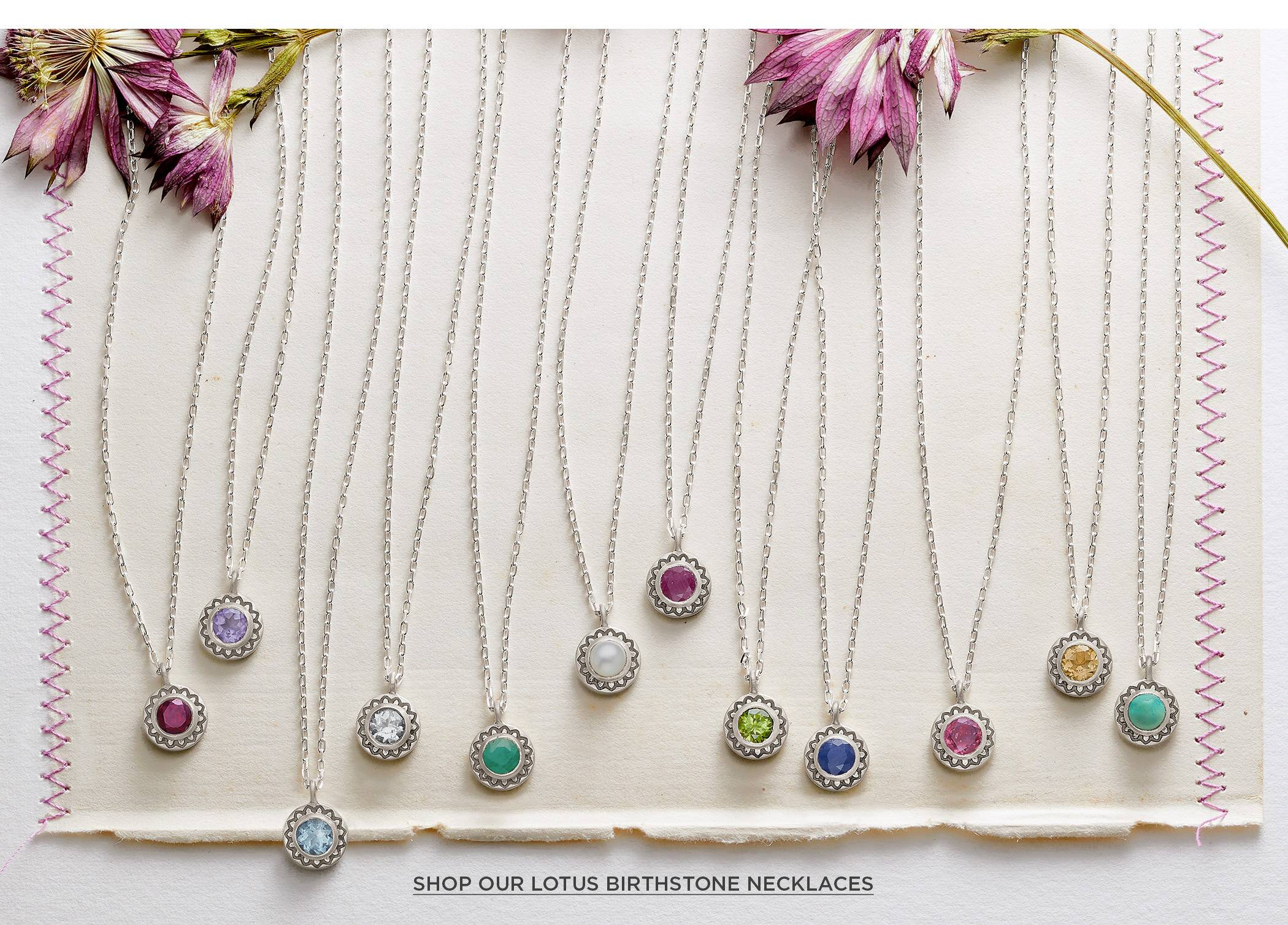 Lotus Birthstone Necklaces
