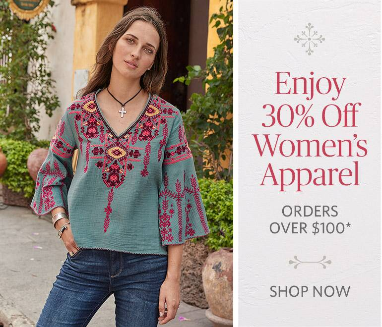 Enjoy 30% Off Women's Apparel