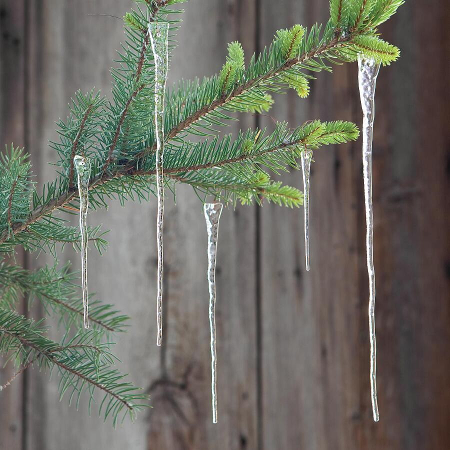 "11"" GLASS ICICLES, SET OF 6"