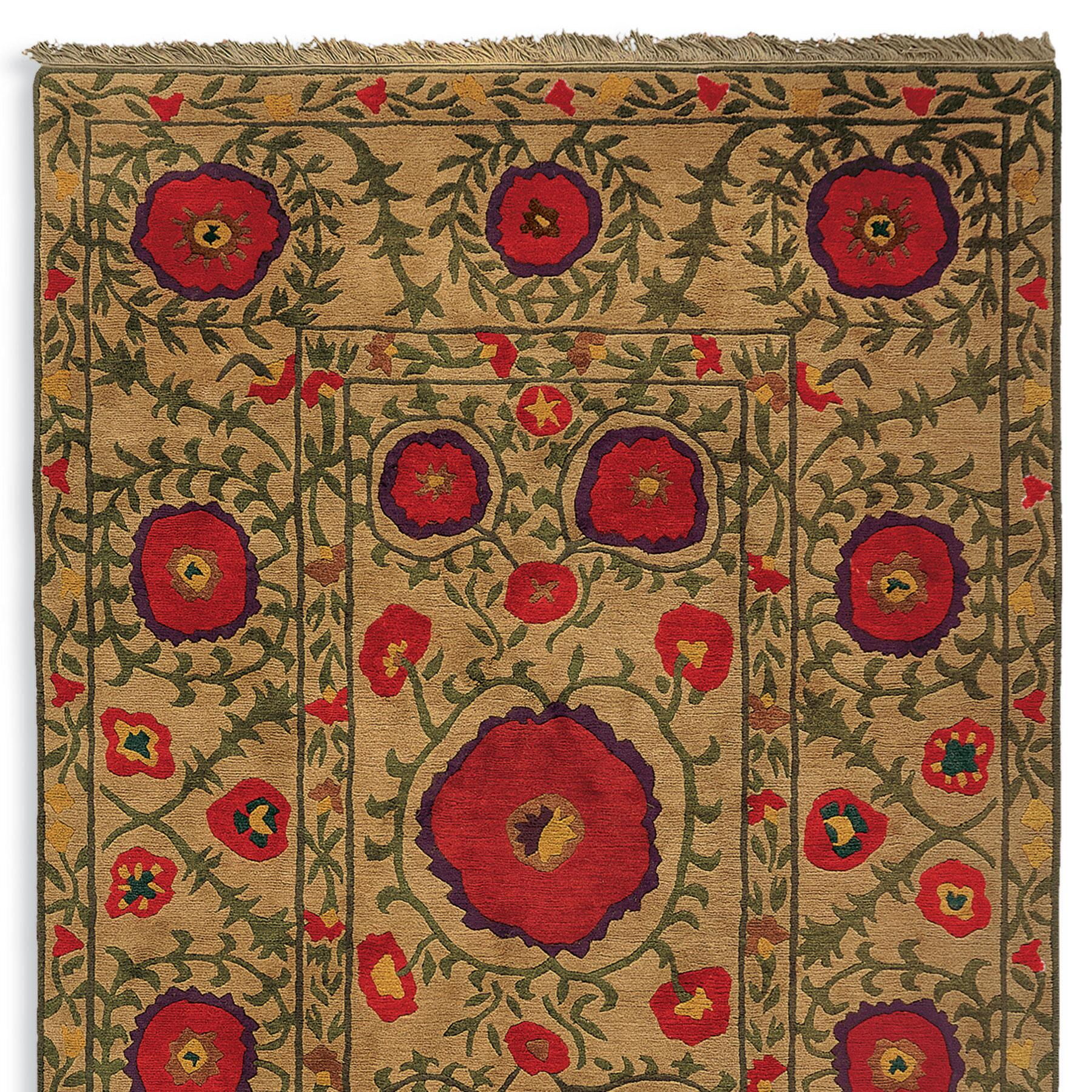 FIELD OF POPPIES TIBETAN HAND KNOTTED RUG: View 1