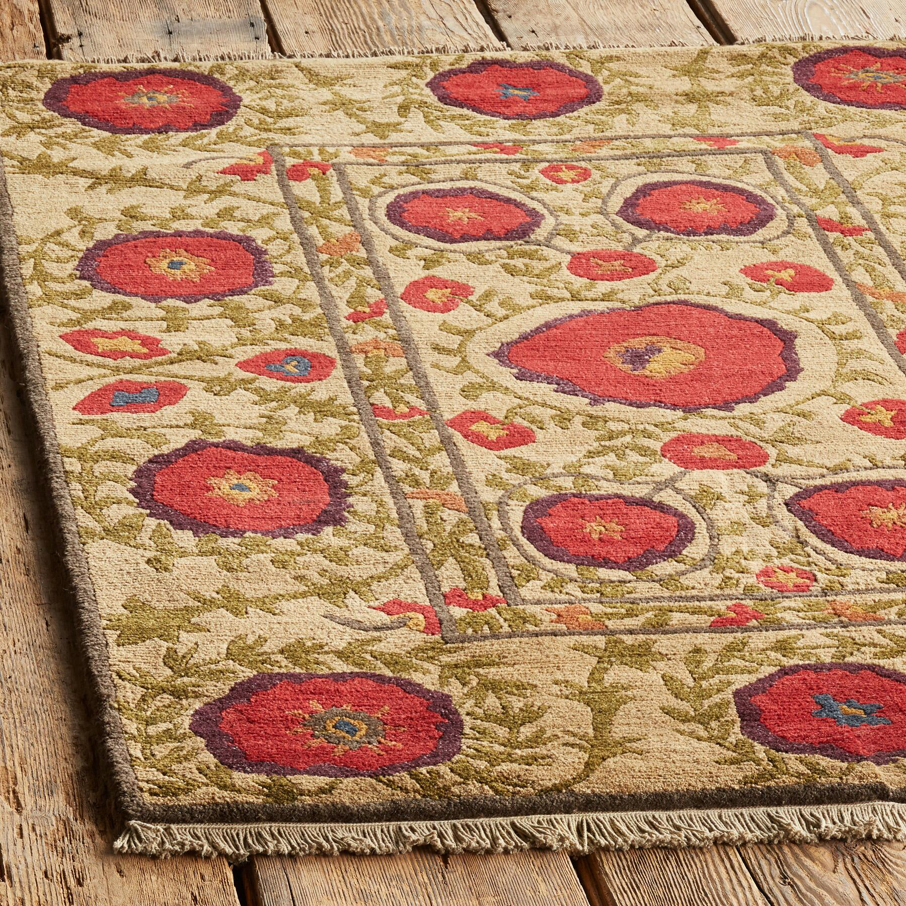 FIELD OF POPPIES TIBETAN HAND KNOTTED RUG: View 2