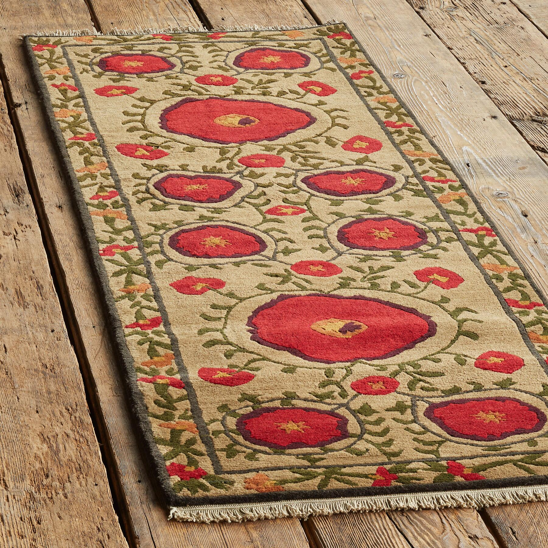 FIELD OF POPPIES TIBETAN HAND KNOTTED RUG: View 3