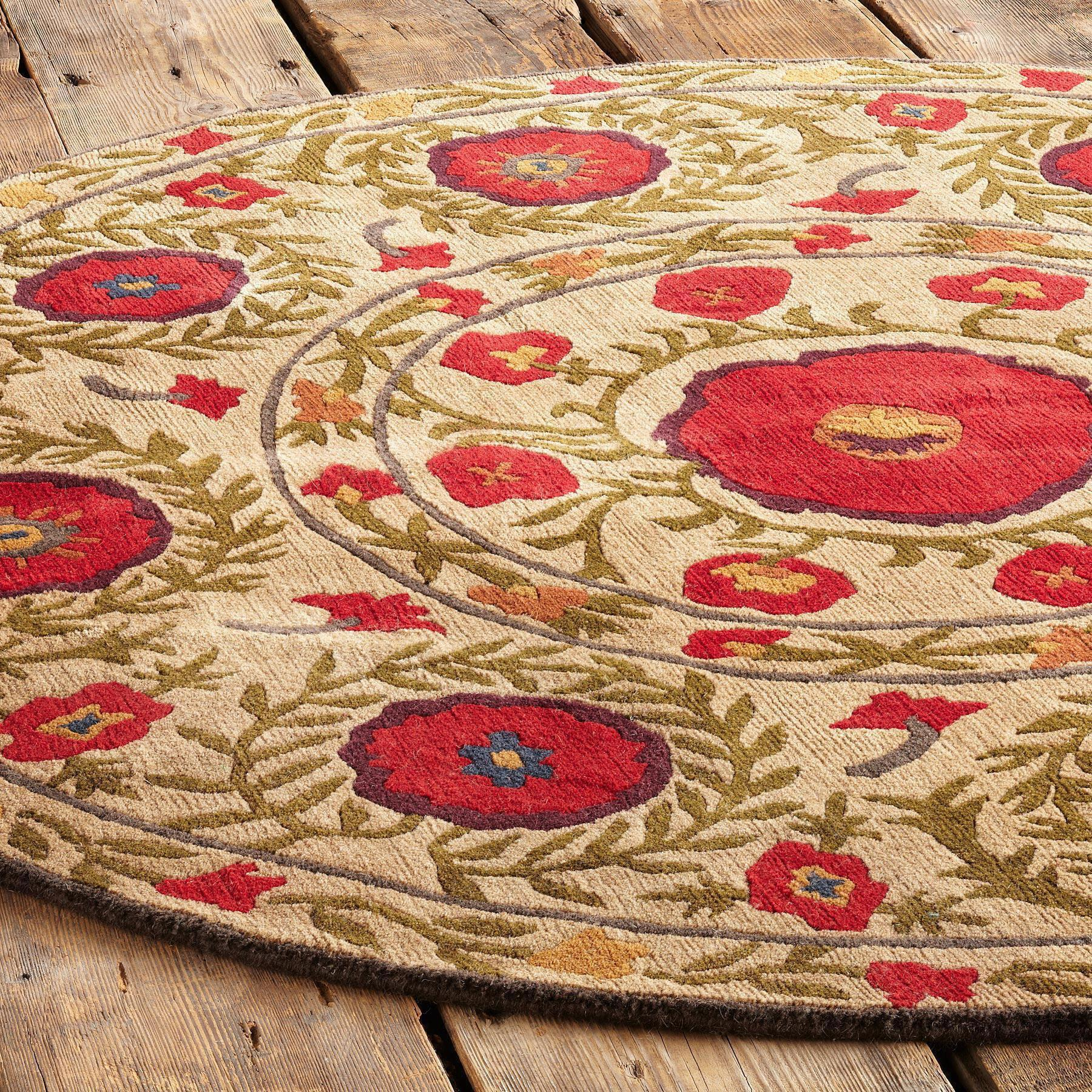FIELD OF POPPIES TIBETAN HAND KNOTTED RUG: View 5