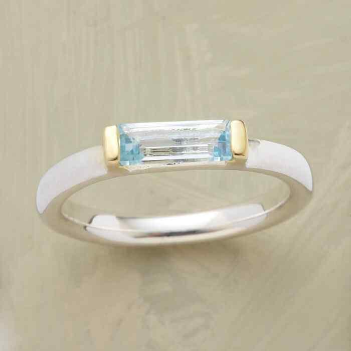 BLUE TOPAZ BAGUETTE RING