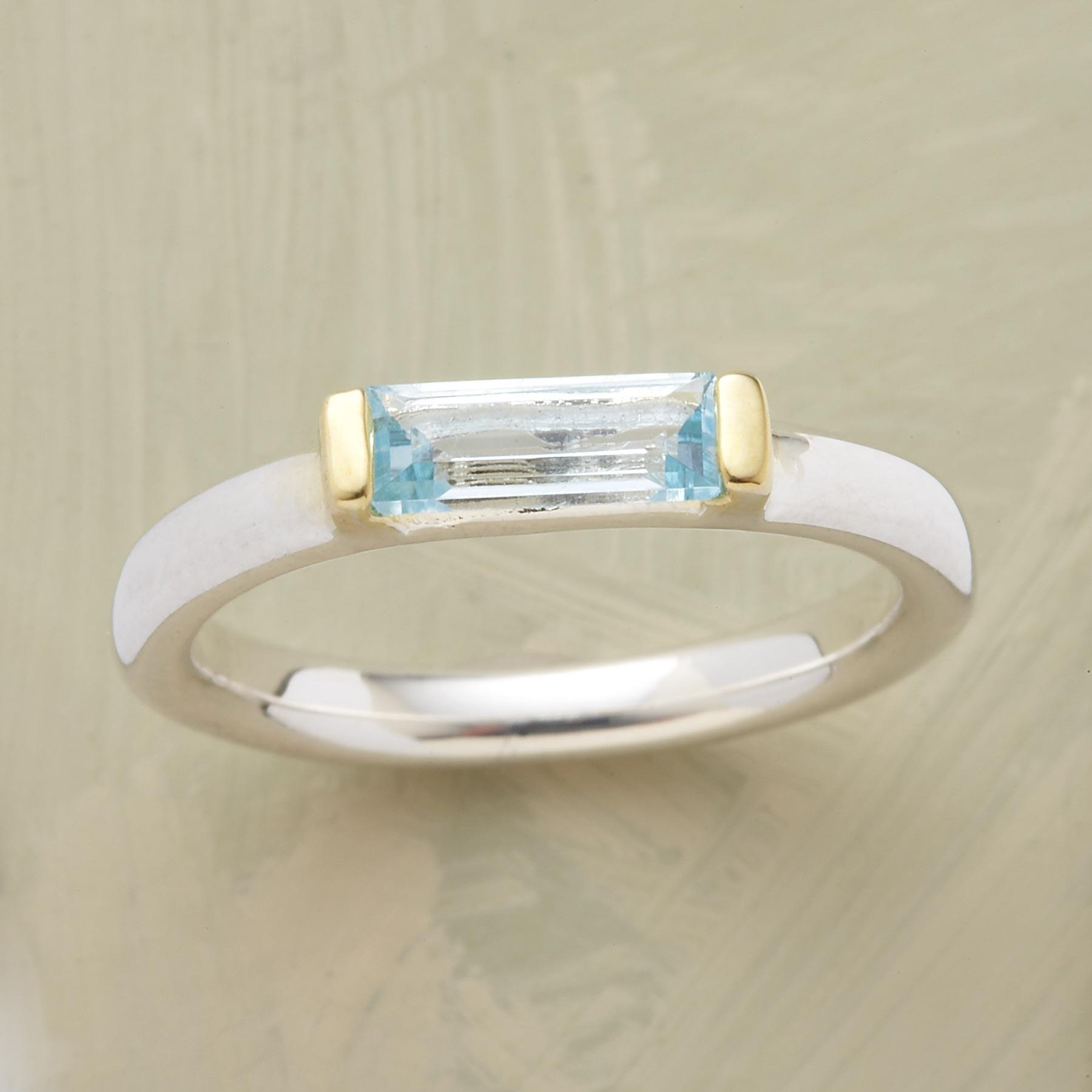 BLUE TOPAZ BAGUETTE RING: View 1