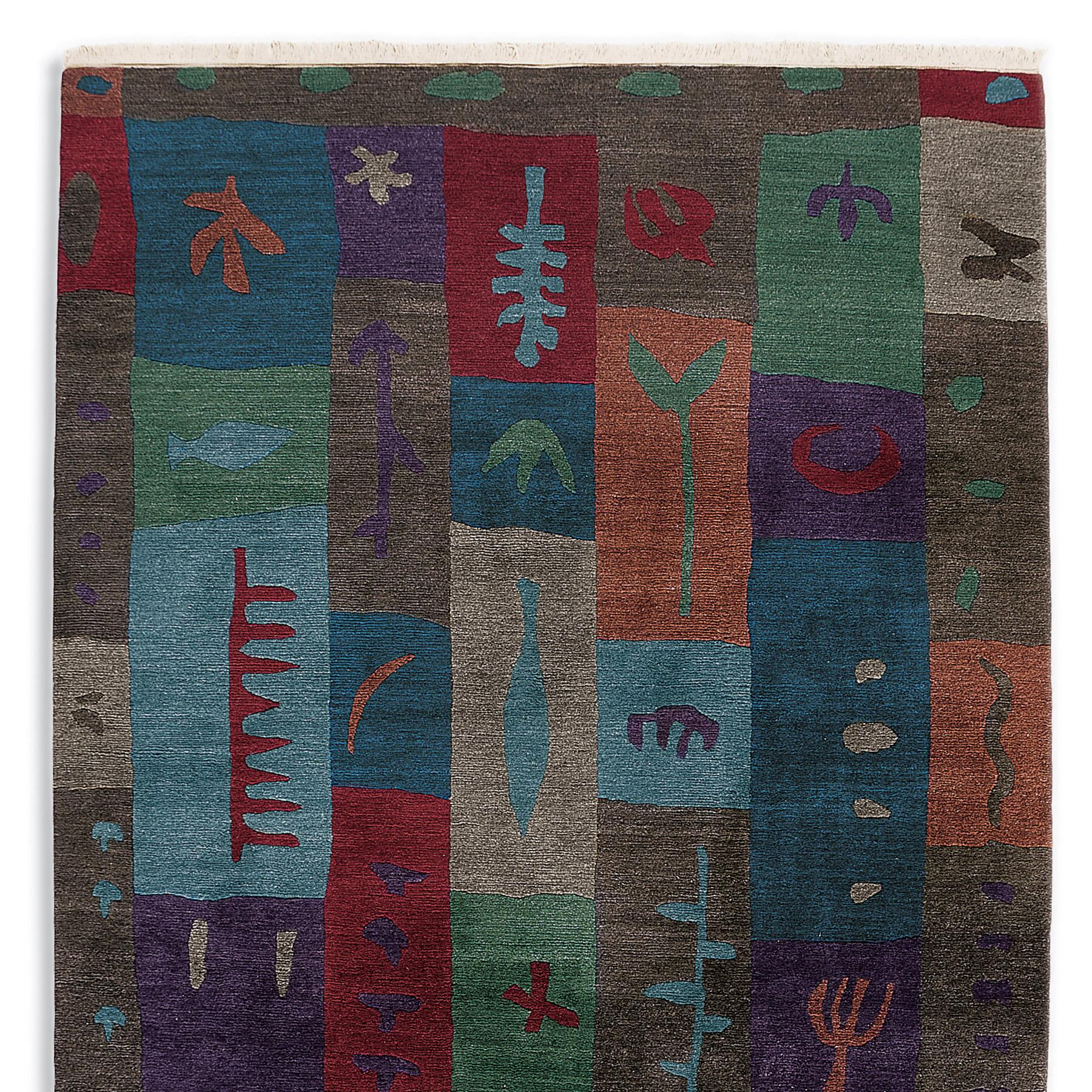 BLOCK PRINT TIBETAN HAND KNOTTED RUG: View 1