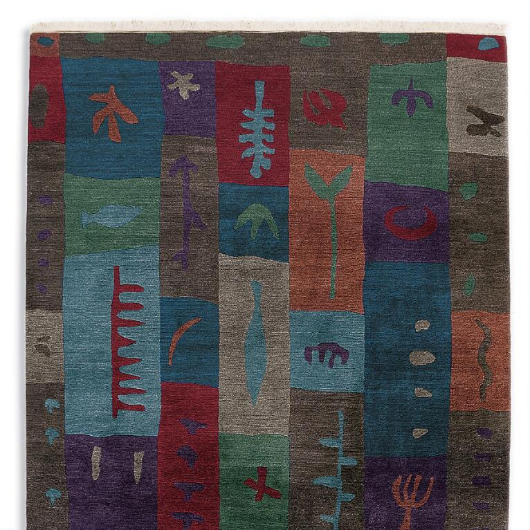 BLOCK PRINT TIBETAN HAND KNOTTED RUG