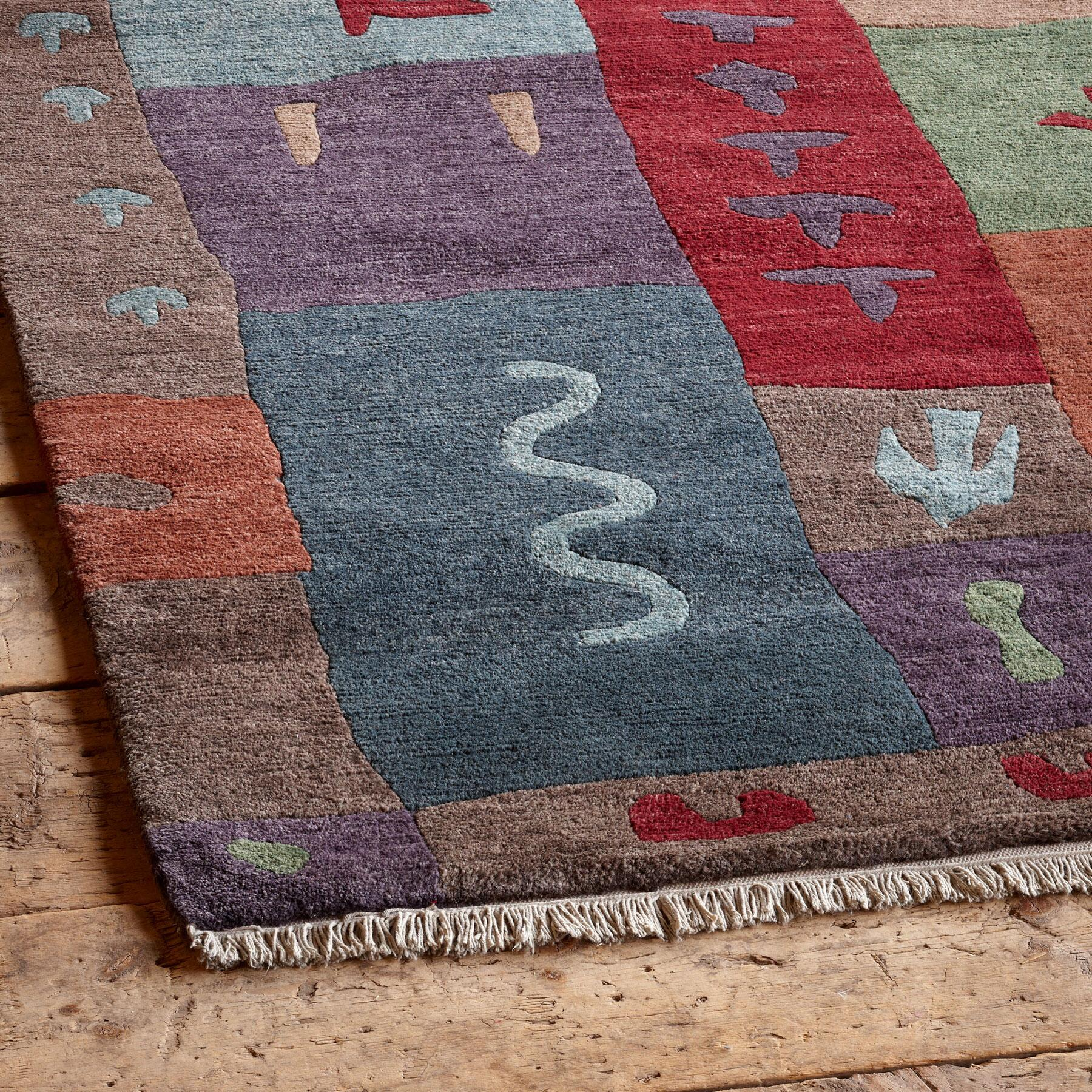 BLOCK PRINT TIBETAN HAND KNOTTED RUG: View 2