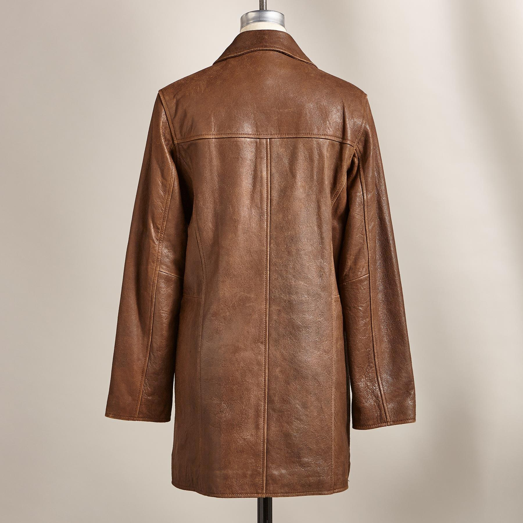 WEATHERED LEATHER PEACOAT: View 2