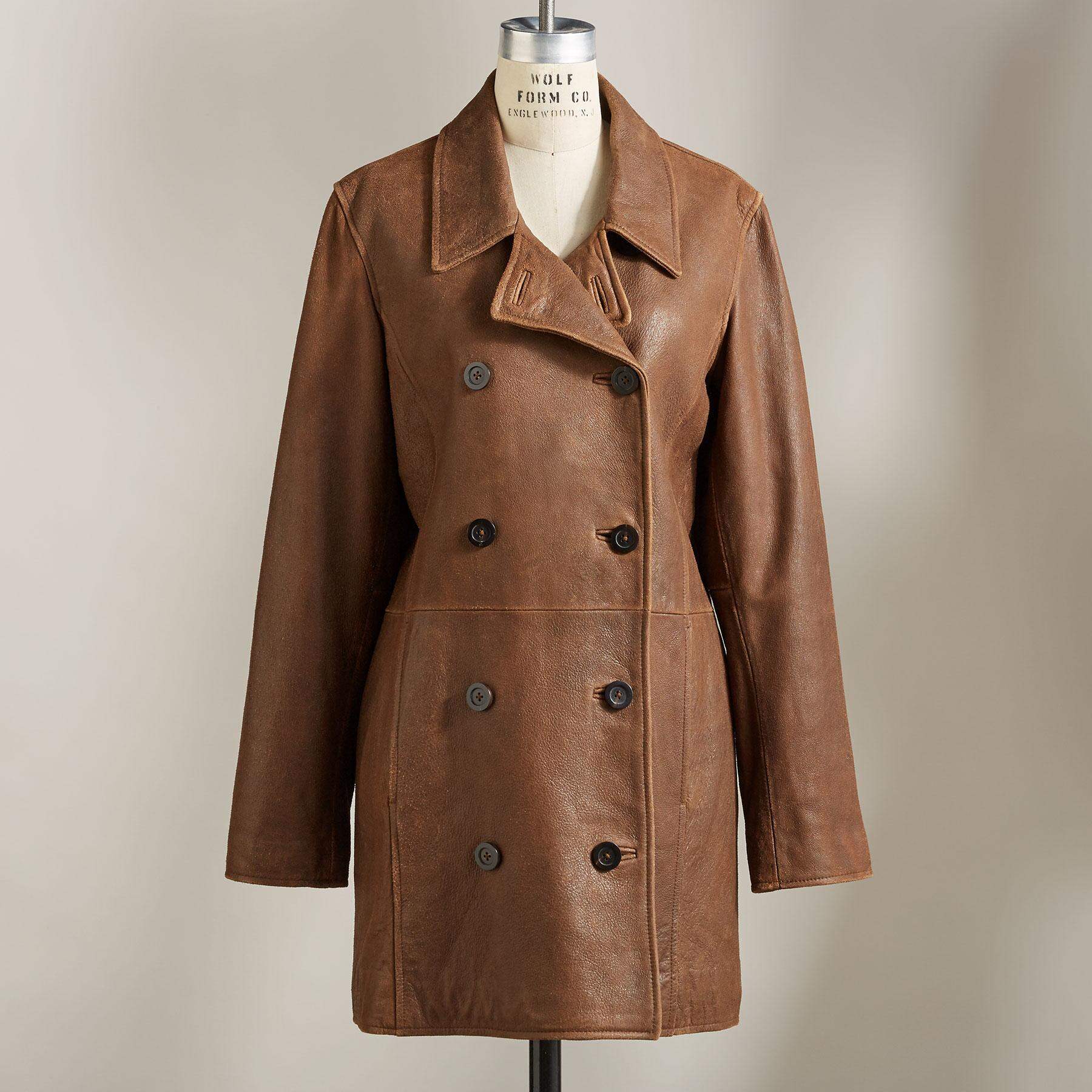 WEATHERED LEATHER PEACOAT: View 3