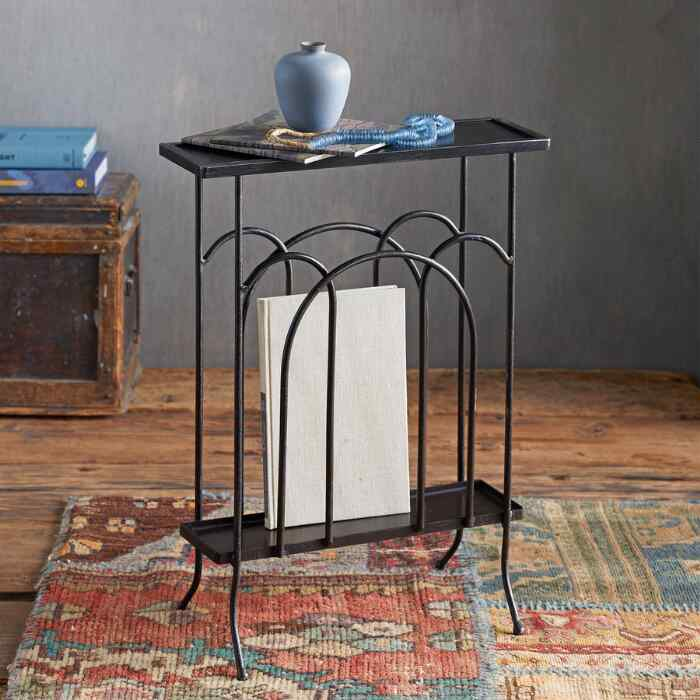 WROUGHT IRON MAGAZINE SIDE TABLE