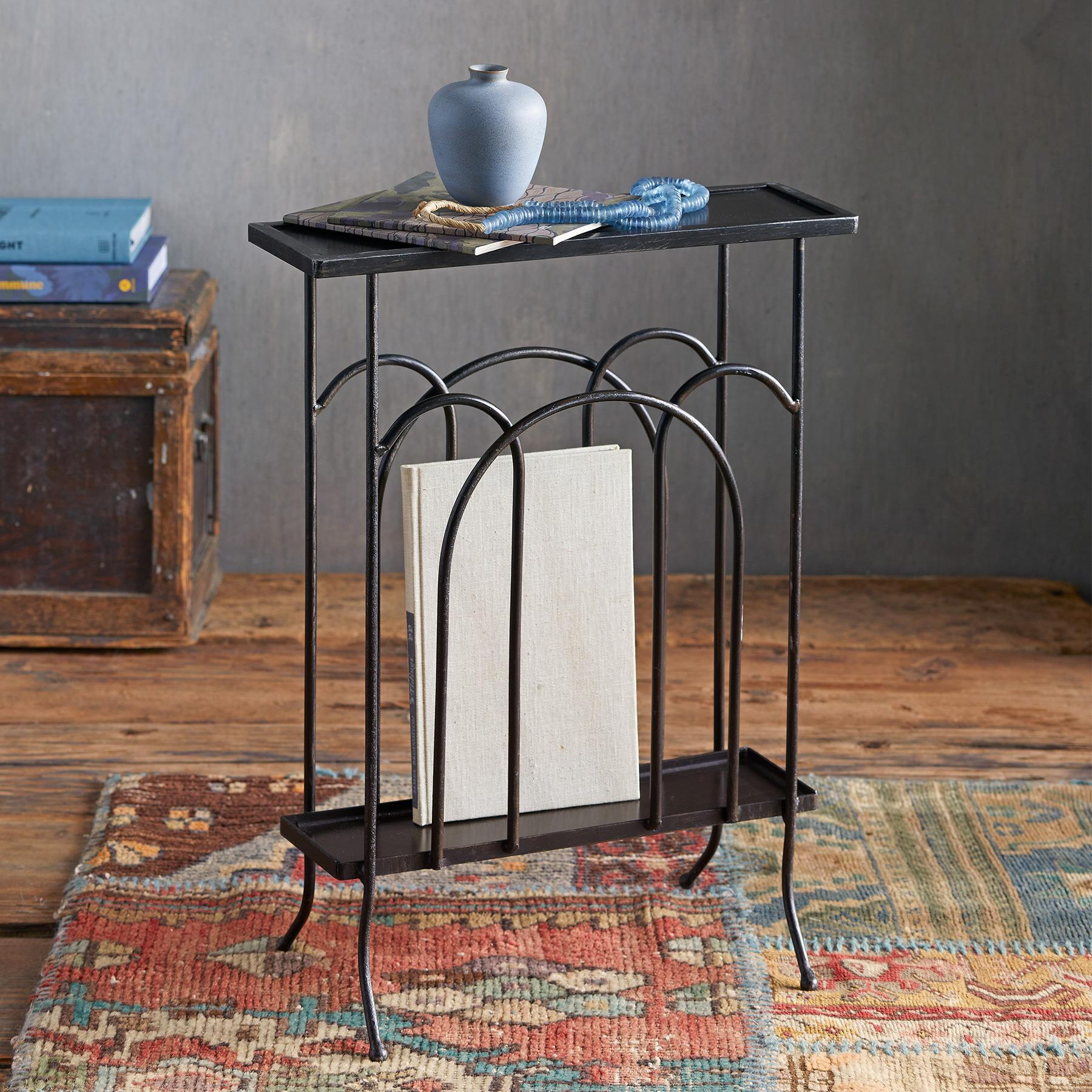 WROUGHT IRON MAGAZINE SIDE TABLE: View 1