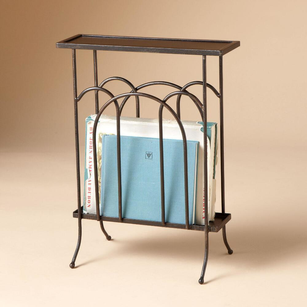 WROUGHT IRON MAGAZINE SIDE TABLE: View 2