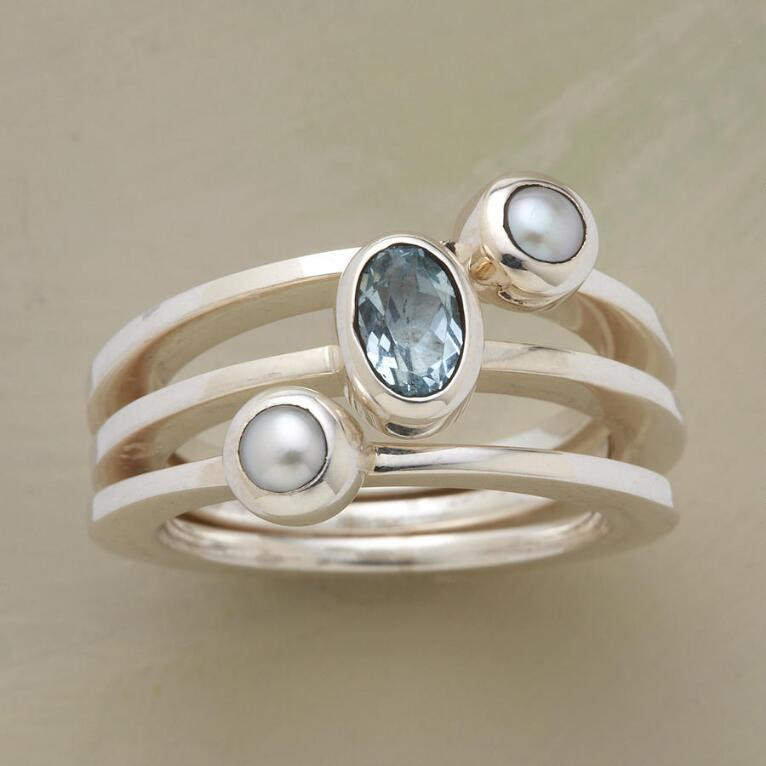 TOPAZ AND PEARL RING TRIO