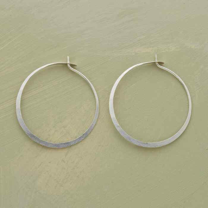 MEDIUM HAND-FORGED STERLING HOOPS