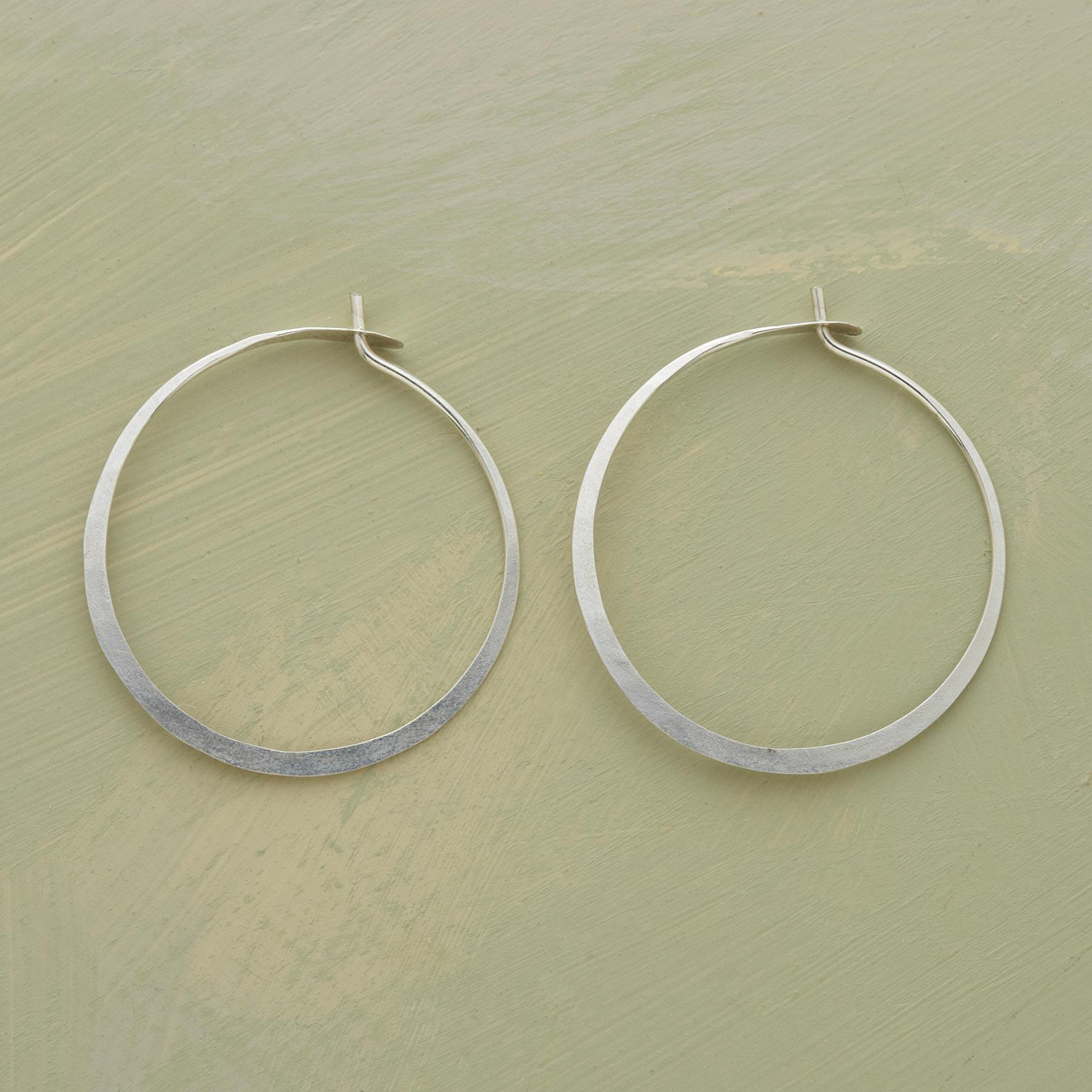 HAND FORGED STERLING HOOPS: View 1