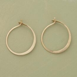 SMALL HAND FORGED GOLD HOOPS