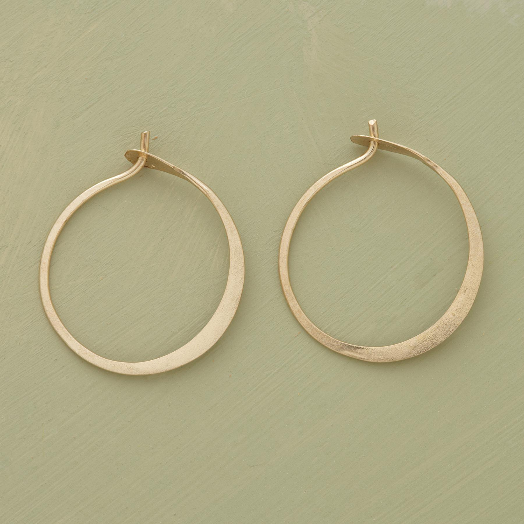 SMALL HAND FORGED GOLD HOOPS: View 1