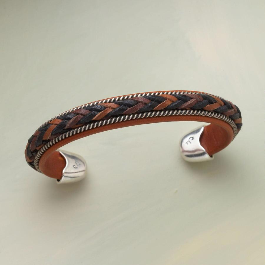 BRAIDED LEATHER & SILVER CUFF