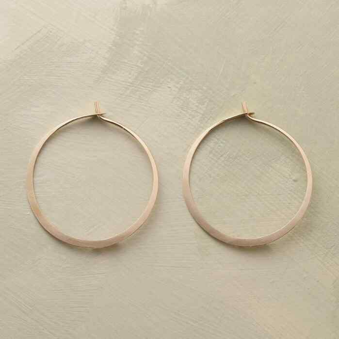 MEDIUM HAND-FORGED GOLD HOOPS