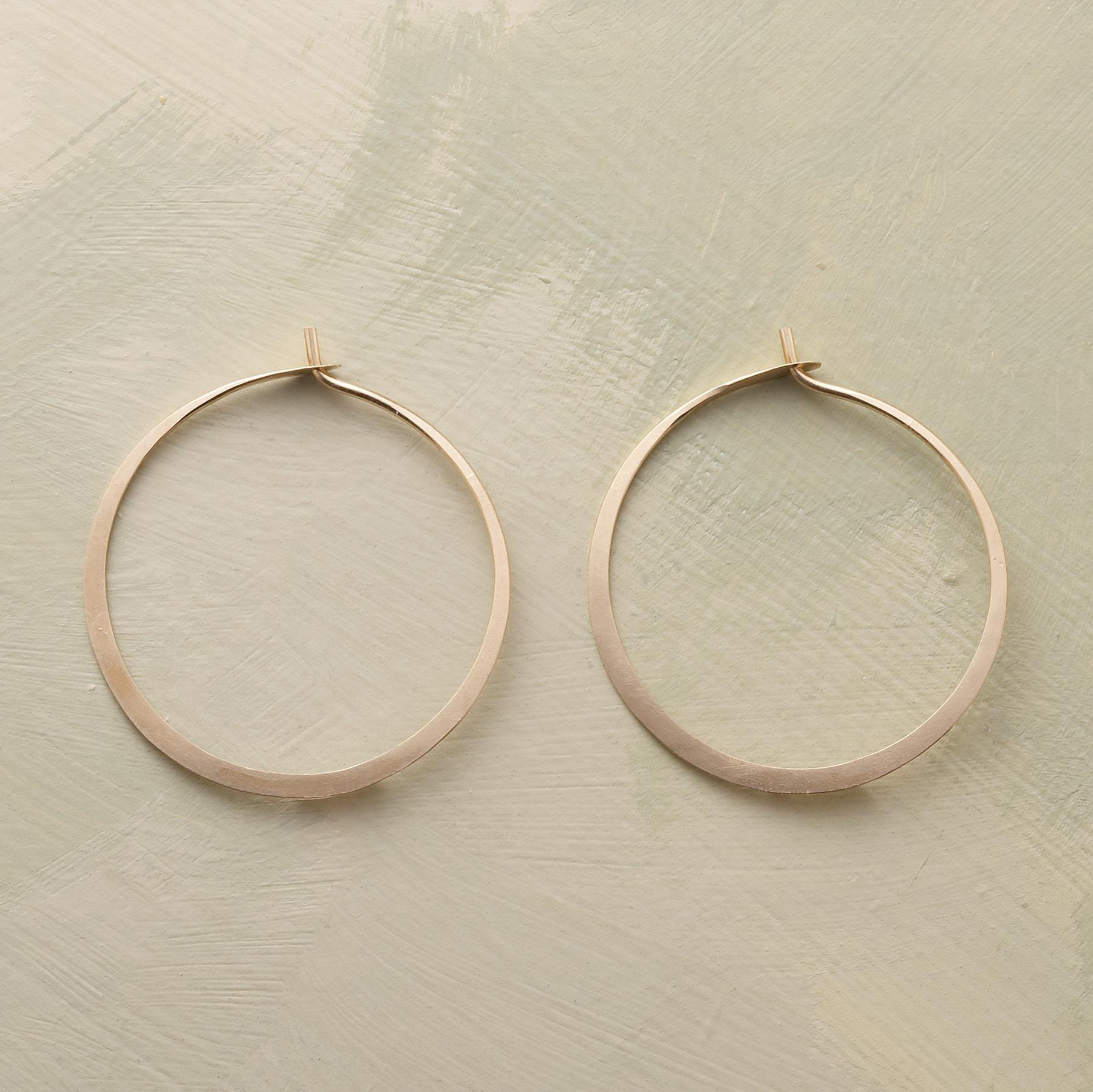 HAND FORGED GOLD HOOPS: View 1