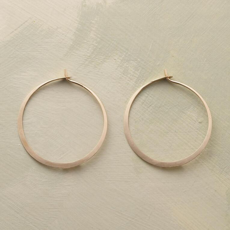 HAND FORGED GOLD HOOPS