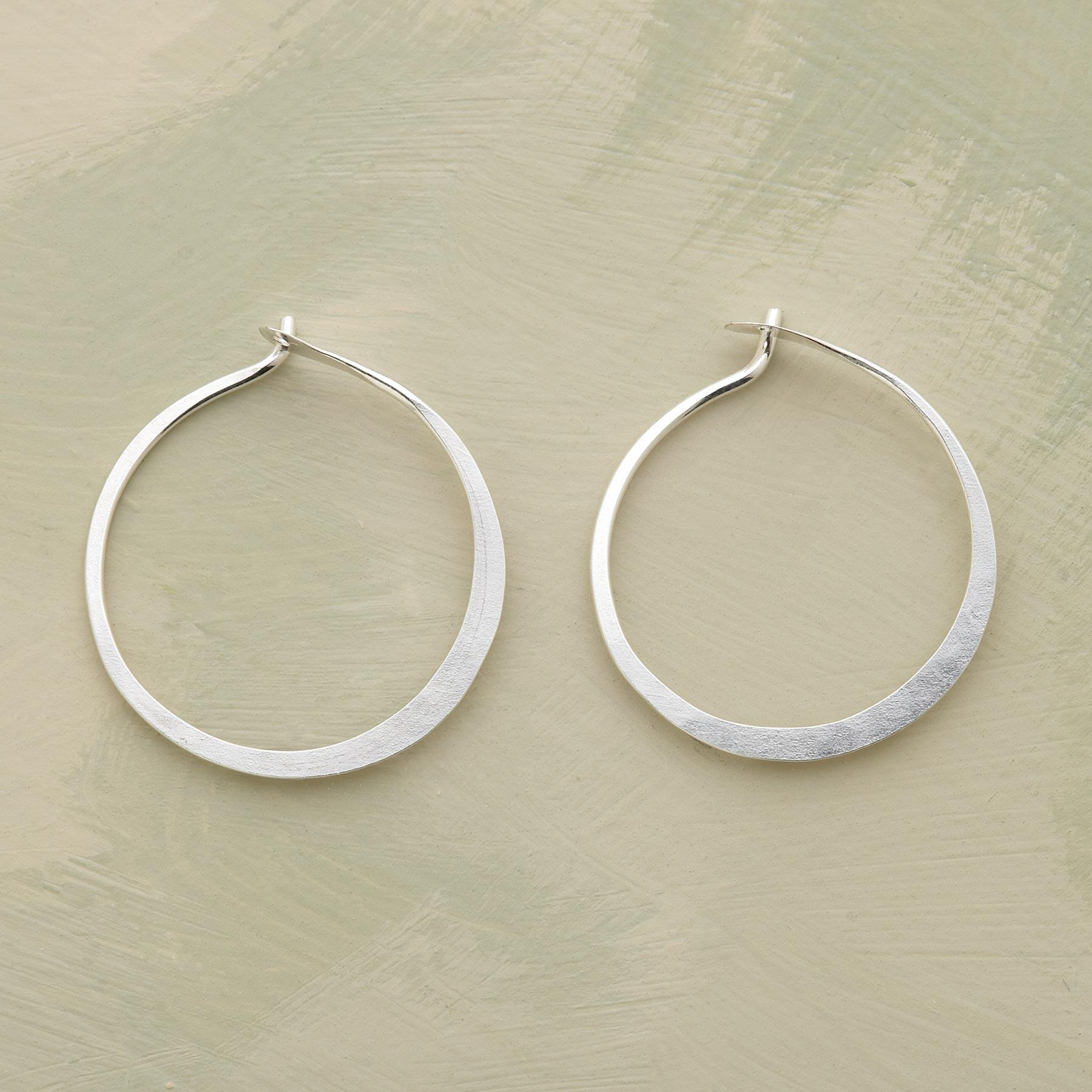SMALL HAND FORGED STERLING HOOPS: View 1