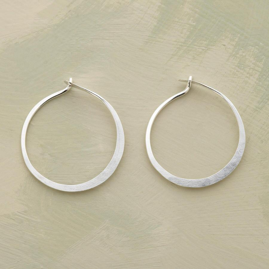 SMALL HAND FORGED STERLING HOOPS