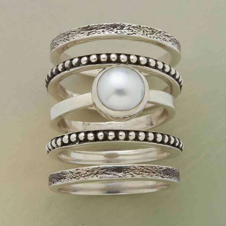 PEARLY GIRL STACK RINGS, S/5