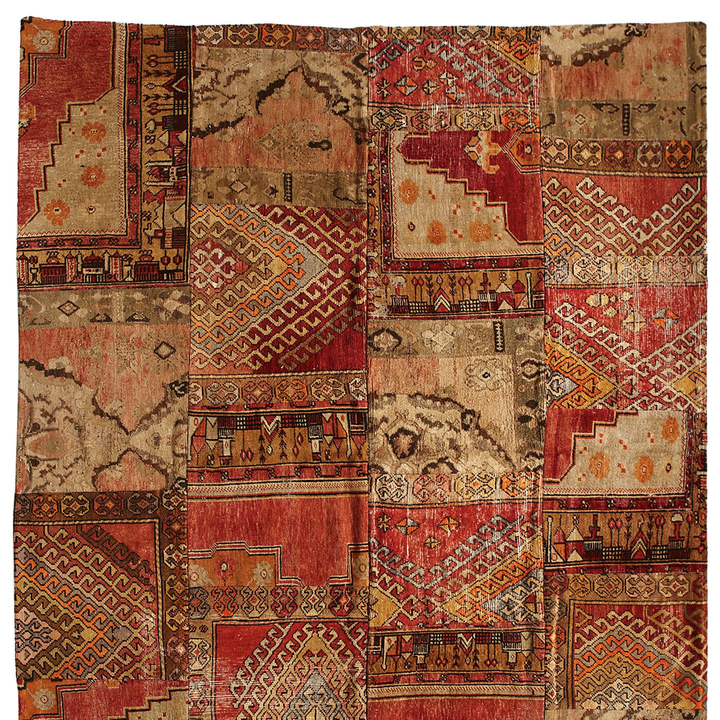 VINTAGE AMARNA PATCHWORK HAND KNOTTED RUG: View 1