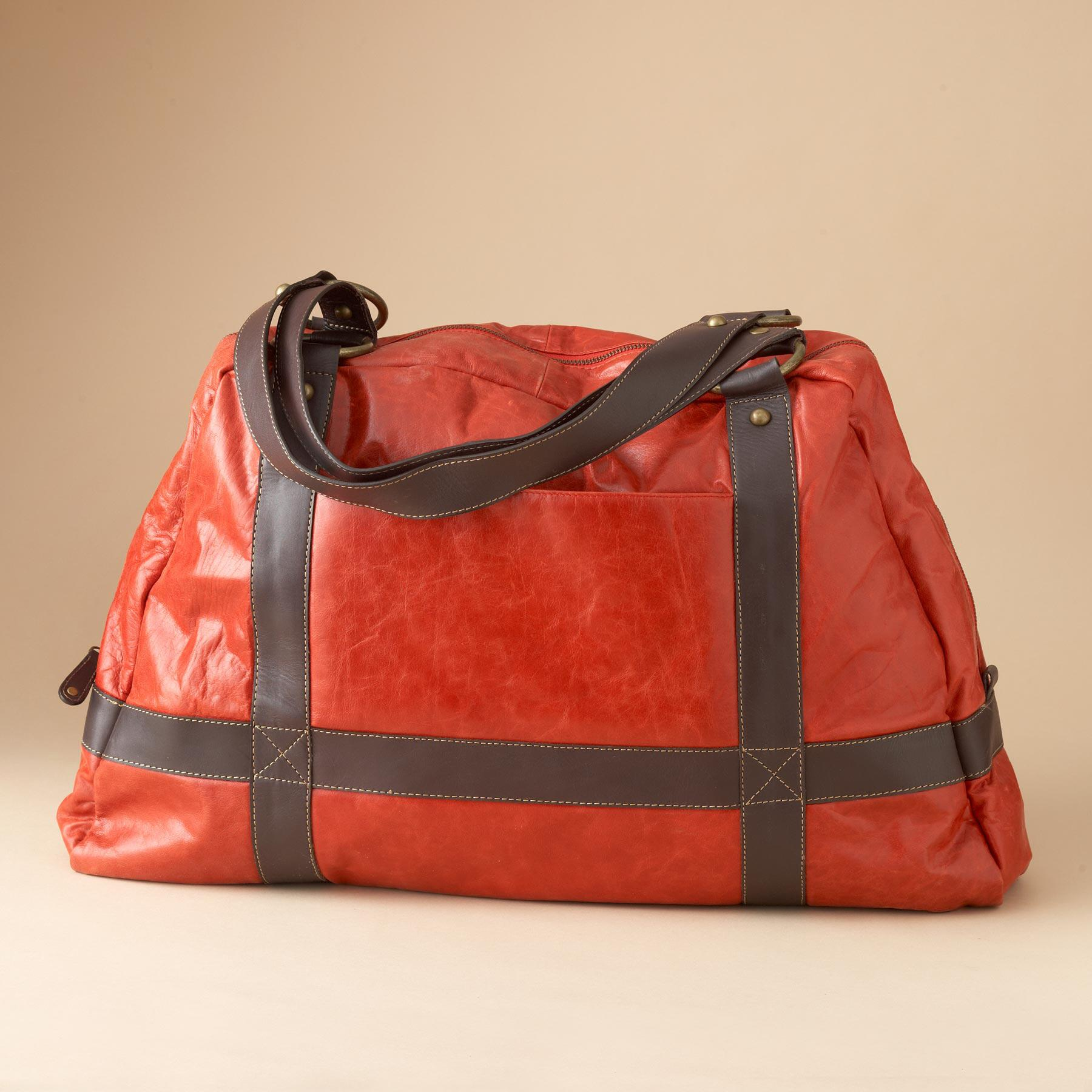RED LEATHER TOURING BAG: View 1