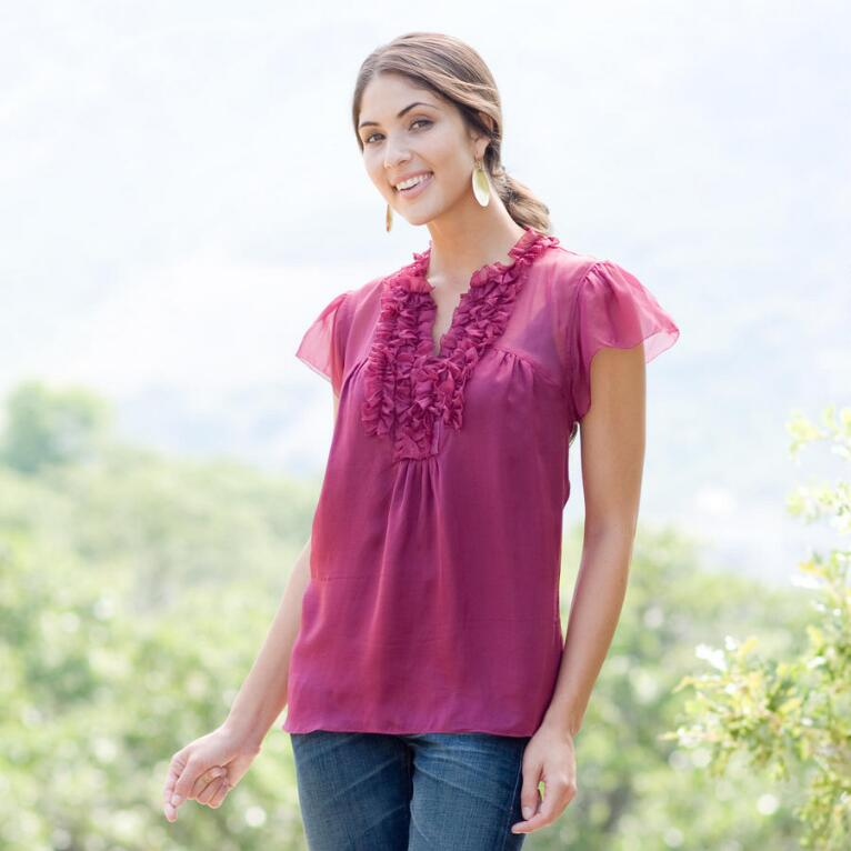 RIO NIDO RUFFLED SILK TOP