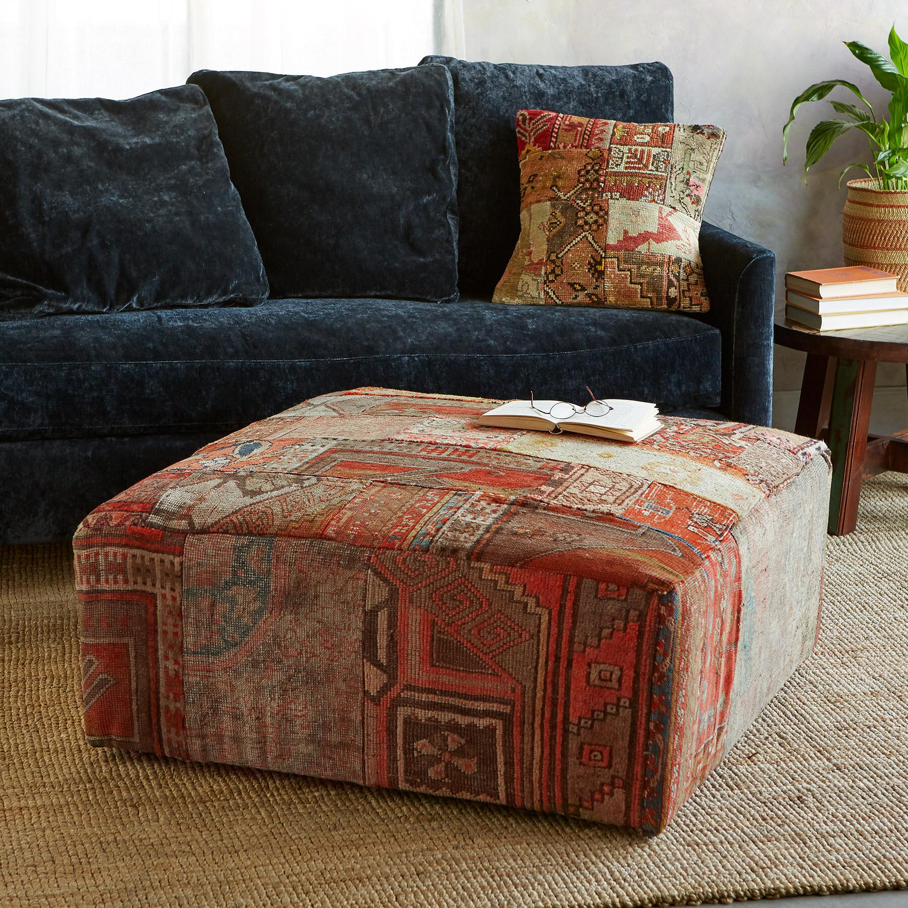 Superb Vintage Carpet Upholstered Ottoman Robert Redfords Caraccident5 Cool Chair Designs And Ideas Caraccident5Info