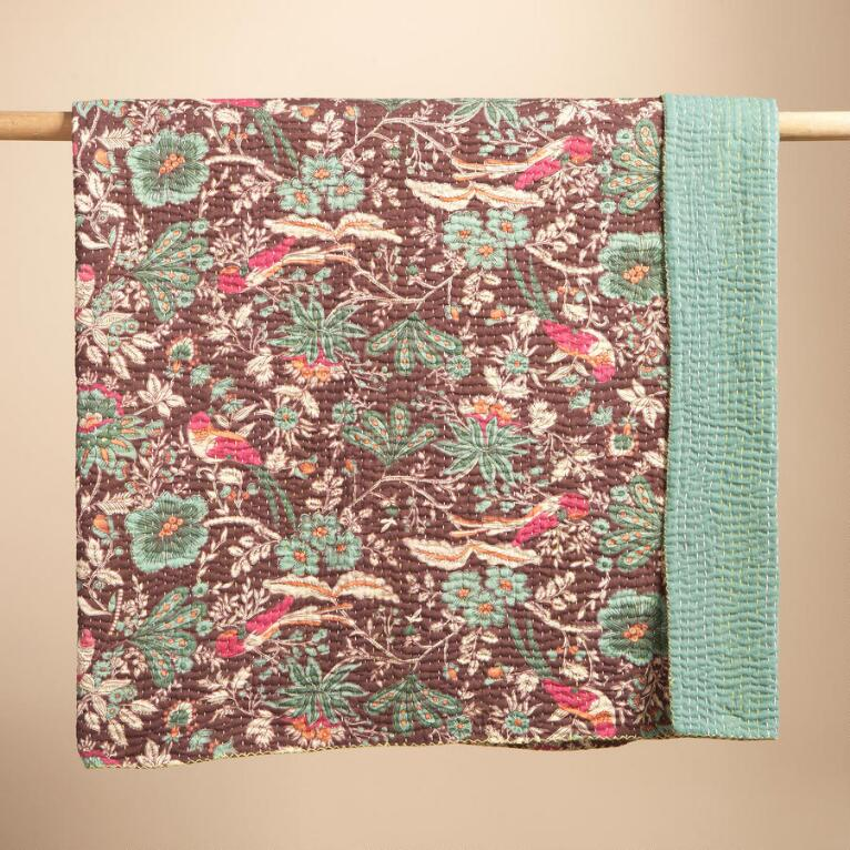 BIRDS & FLOWERS KANTHA QUILT