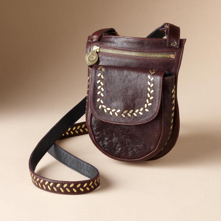 LEATHER & BRASS SLING BAG